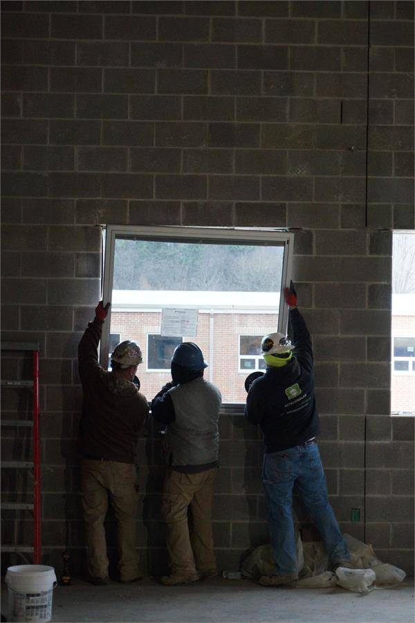 Installing the windows in the middle school area