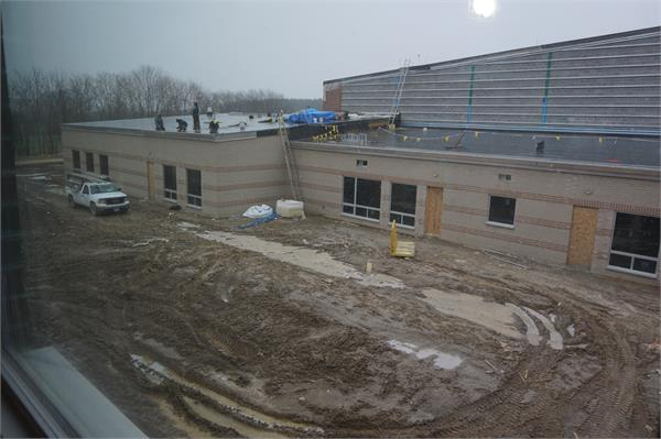 View from second floor of high school of the band, choir and 2 art rooms