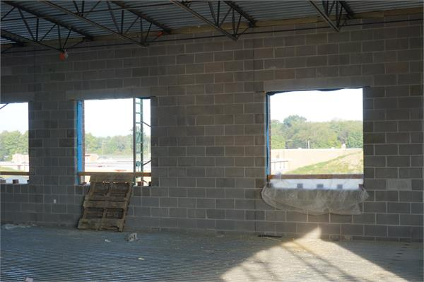 Looking out the main floor of the high school towards the present middle school