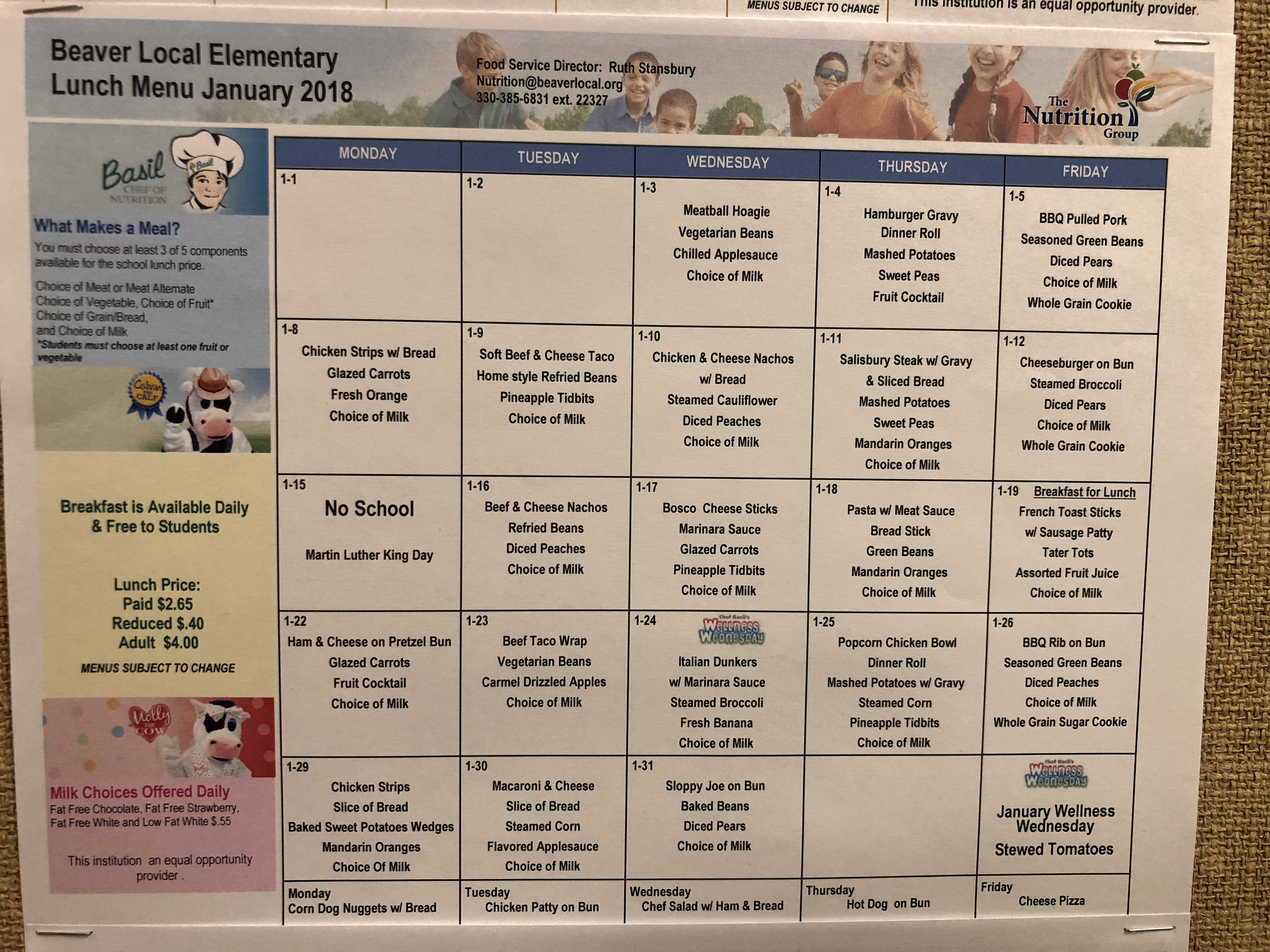Beaver Local Elementary Lunch Menu for month of January
