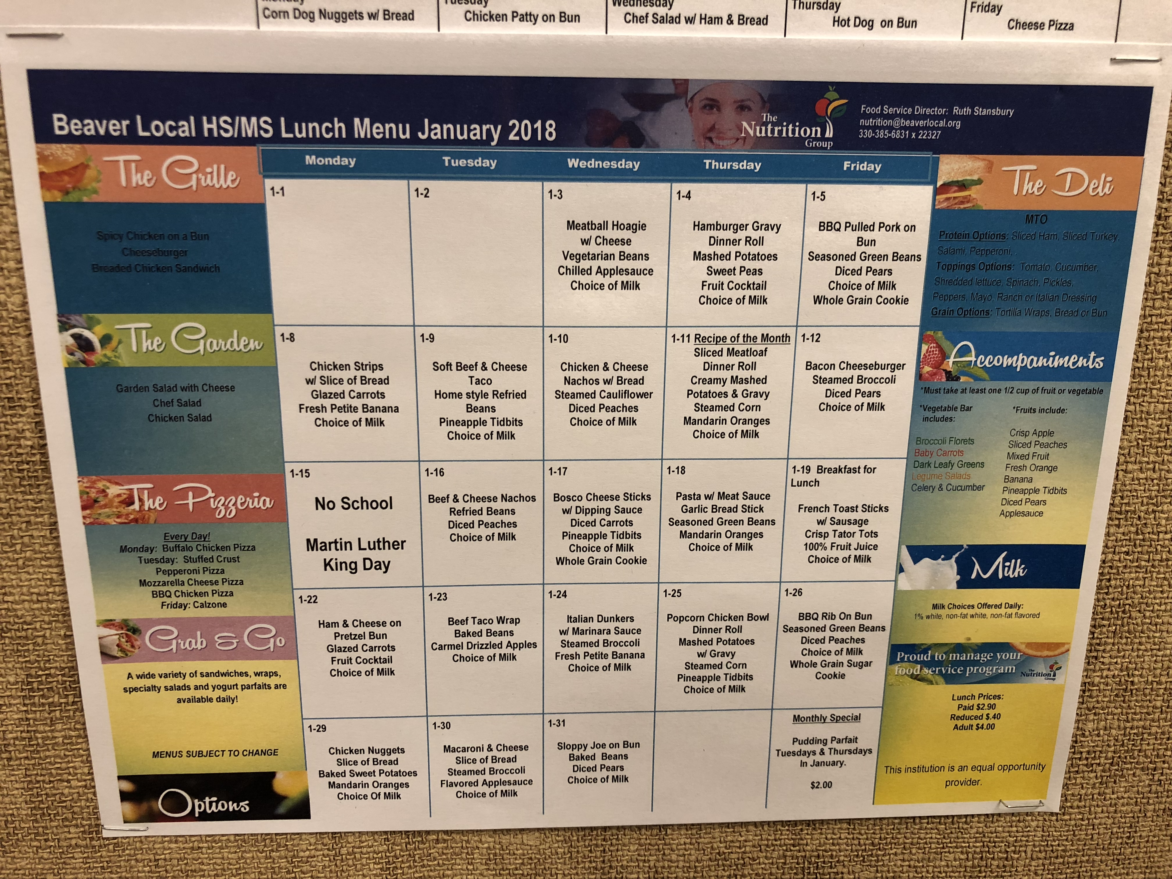 Please check out the Beaver Local High School and Middle School Lunch menus for the month of January
